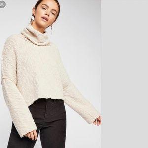 Free People Cream Big Easy Cowl Neck Crop Sweater